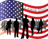 Flag of USA for Labor Day with business people. Vector illustration of waving red white and blue American flag with business people for labor day Stock Images