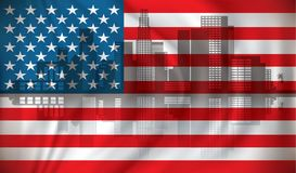 Flag of USA with Los Angeles skyline. Illustration Stock Image