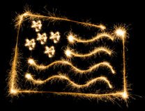 Flag of USA made of sparkles on black Stock Images