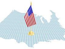 Flag of usa. And the map Royalty Free Stock Photo