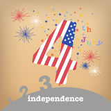 Flag of USA on number four Royalty Free Stock Photo