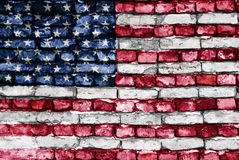 Flag of USA painted on an old brick wall Stock Photo
