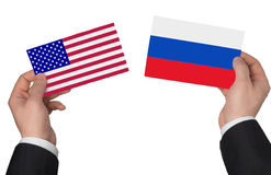 Flag of the USA and Russia. On a white background Royalty Free Stock Photos
