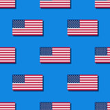 Flag of the USA seamless pattern on blue background Stock Photography