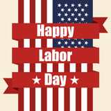 Flag of USA to labor day with ribbon. Vector illustration Stock Photo