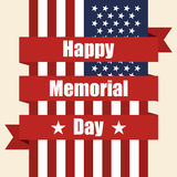 Flag of USA to memorial day with ribbon. Vector illustration Royalty Free Stock Photography