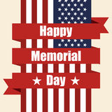Flag of USA to memorial day with ribbon. Vector illustration Stock Photo