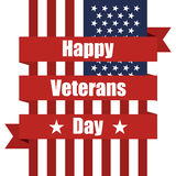 Flag of USA to Veterans day with ribbon. Vector illustration Stock Image