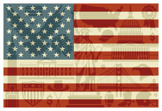 Flag of USA. With traditional symbols of architecture and culture of the USA Royalty Free Stock Photography