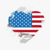 Flag of USA. Flag of United States of America on grunge heart. Vector illustration Vector Illustration