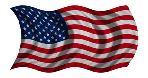 Flag of USA waving on white, detail fabric texture Royalty Free Stock Image