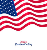 Flag USA Waving Wind for Happy Presidents Day Royalty Free Stock Photo