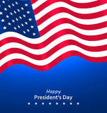 Flag USA Waving Wind for Happy Presidents Day Stock Photos