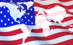 Flag USA and world map. Done in 3d rendering Royalty Free Stock Images