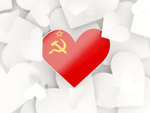 Flag of ussr, heart shaped stickers Stock Photos