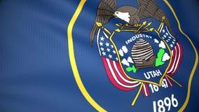 Flag of Utah. The flag of Utah waving in the wind stock footage