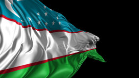Flag of Uzbekistan. Beautiful   3d animation of Uzbekistan flag with alpha channel stock footage