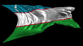 Flag of Uzbekistan. Beautiful   3d animation of Uzbekistan flag with alpha channel in 4k resolution stock video footage