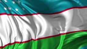 Flag of Uzbekistan. Beautiful   3d animation of Uzbekistan flag in loop mode stock video footage