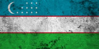 Flag of the Uzbekistan close up Stock Photo