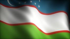 Flag of Uzbekistan. (Computer generated seamless movie stock footage