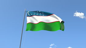 Flag of Uzbekistan. Front Flag of Uzbekistan, Seamless Loop, Alpha Matte available on my portfolio stock video