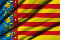 Flag of Valencia. High detailed waving flag of different countries from all over the world Stock Photos