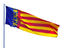 Flag of the Valencian Community. Flying Flag of the Valencian Community over white background royalty free stock images