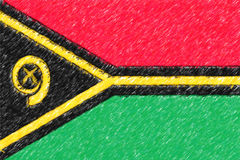 Flag of Vanuatu background o texture, color pencil effect. Stock Images