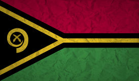 Flag of Vanuatu with the effect of crumpled paper and grunge Royalty Free Stock Photography
