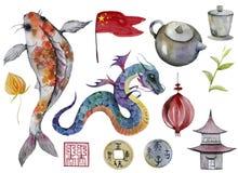 Free Flag, Vase, Porcelain, Bamboo, Tea, Teapot, Coin, Physalis, Dragon, Carp, Panda, Fish, Koi Stock Photo - 169974090
