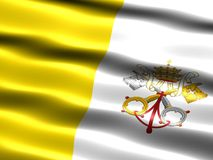 Flag of the Vatican City. Computer generated illustration of the flag of the Vatican City with silky appearance and waves royalty free illustration