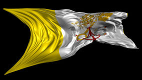 Flag of Vatican City. Beautiful   3d animation of Vatican City flag with alpha channel in 4k resolution stock video