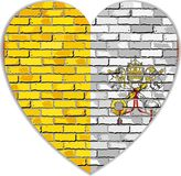 Flag of Vatican City on a brick wall in heart shape. Illustration, Flag of the Holy See on brick textured background, Flag of the Papal States, Abstract vector illustration