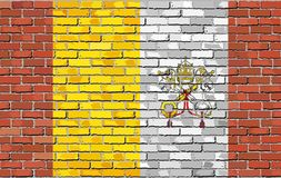 Flag of Vatican City on brick wall. Illustration, Flag of the Holy See on brick textured background, Flag of the Papal States, Abstract grunge mosaic vector royalty free illustration