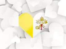 Flag of vatican city, heart shaped stickers Stock Images
