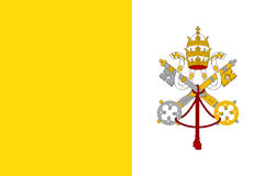 Flag of Vatican City State. Papal States - catholic country of Sounhern European. Holy See symbol. Vector icon illustration royalty free illustration