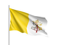 Flag of Vatican City State. Papal States - catholic country of Sounhern European. Holy See symbol. Vector icon illustration stock illustration