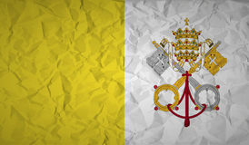 Flag of the Vatican with the effect of crumpled paper. Flag  of the Vatican with the effect of crumpled paper Royalty Free Stock Image