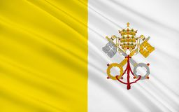 Flag of Vatican. City officially Vatican City State or the State of Vatican City is a walled enclave within the city of Rome vector illustration