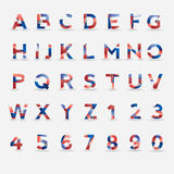 Flag Vector Font. Great Britain, USA, France, Netherlands and Russia colors. Format eps10 Royalty Free Stock Photography