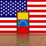 Flag Venezuela and USA on wall and door. 3D illustration royalty free stock photography