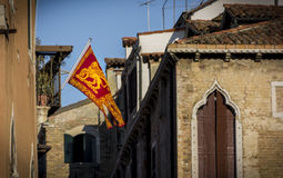 Flag of the Venice republic. Golden lion saint mark Stock Image