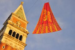 The flag of Venice in San Marco Royalty Free Stock Image