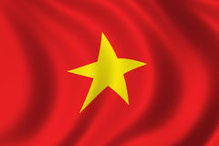 Flag of Vietnam. Waving in the wind Stock Photos