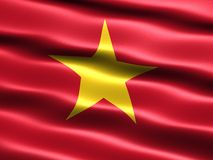 Flag of Vietnam. Computer generated illustration with silky appearance and waves Royalty Free Stock Photo