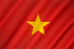 Flag of Vietnam. Until the end of the Vietnam War in 1975, South Vietnam used a yellow flag with three red stripes. The red flag of North Vietnam was adopted Royalty Free Stock Image