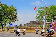 Flag Of Vietnam In Hue Imperial City, Vietnam UNESCO World Heritage stock photo