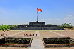 Flag Of Vietnam In Hue Imperial City, Vietnam UNESCO World Heritage. The Imperial City is a walled palace within the citadel of the city of Hue, the former royalty free stock image