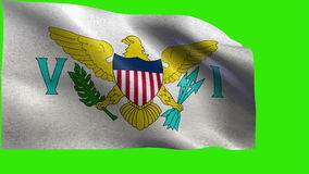 Flag of Virgin Islands of the United States - LOOP. Beautiful 3d flag animation on green/blue screen in 4k format - seamless looped stock video footage